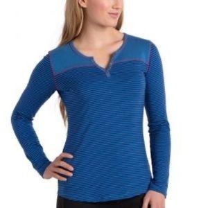 KUHL Veloce Blue Striped Long Sleeve Henley Size M